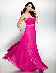 TS Couture Prom Formal Evening Dress - Sparkle & Shine A-line Sweetheart Ankle-length Chiffon with Beading Criss Cross