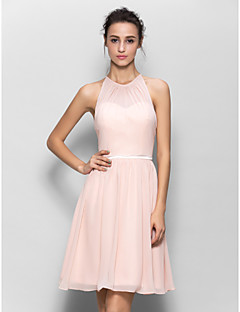 A-Line Jewel Neck Knee Length Georgette Bridesmaid Dress with Sash / Ribbon Pleats by LAN TING BRIDE®