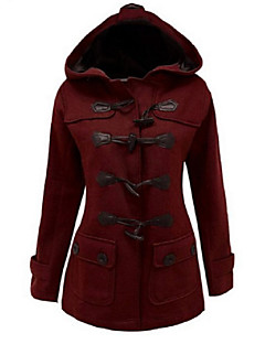 Women's Vintage Coat,Solid Hooded Long Sleeve Winter Red / Black / Gray Cotton Thick