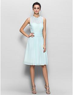 Lanting Bride® Knee-length Chiffon Bridesmaid Dress - Sheath / Column with Draping / Ruching