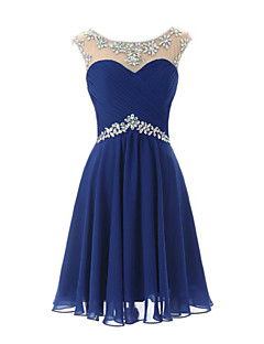 Knee-length Chiffon Bridesmaid Dress Sheath / Column Scoop with Crystal Detailing