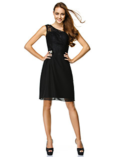 TS Couture Cocktail Party Dress - Black Sheath/Column One Shoulder Knee-length Chiffon / Lace