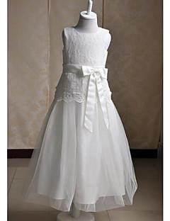 גזרת A באורך הקרסול שמלה לנערת הפרחים - תחרה / סאטן / טול ללא שרוולים עם תכשיטים עם