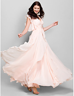 Lanting Ankle-length Chiffon Bridesmaid Dress - Pearl Pink A-line V-neck