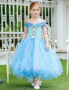 Cinderella Handwork Dress A-line Ankle-length Flower Girl Dress - Tulle / Polyester Sleeveless
