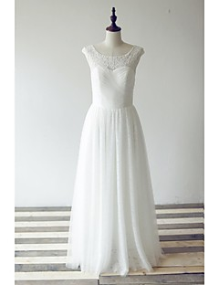 A-line Wedding Dress Floor-length Scoop Lace / Tulle with Criss-Cross / Lace