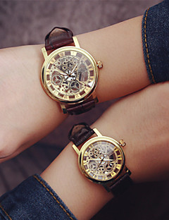 Heren Dames Voor Stel Modieus horloge Hol Gegraveerd Kwarts PU Band Zwart Bruin
