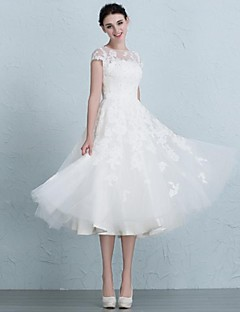 A-line Wedding Dress Tea-length Bateau Tulle