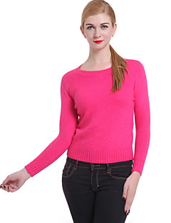 Women's Vintage Regular Pullover,Solid Pink Red Crew Neck Long Sleeve Cotton Linen Others Winter Thick Micro-elastic