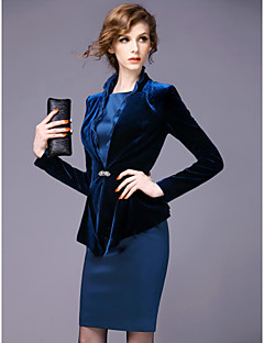 Sheath/Column Mother of the Bride Dress - Dark Navy Knee-length Long Sleeve Polyester