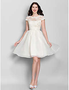 Lanting Bride® Knee-length Lace / Organza Bridesmaid Dress - A-line Scoop with Lace