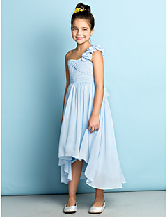 Lanting Bride® Asymmetrical Chiffon Junior Bridesmaid Dress - Mini Me A-line One Shoulder with Flower(s) / Criss Cross