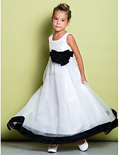 Lanting brud ® a-linje fotsid blomst jente kjole - organza ermeløs scoop med bue (r)