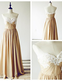 Formal Evening Dress - Champagne A-line Sweetheart Floor-length Chiffon / Lace