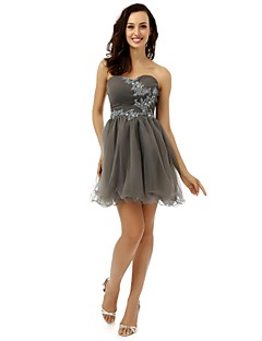 Cocktail Party Dress - Silver A-line Strapless Short/Mini Tulle
