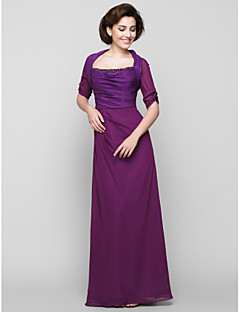 Sheath/Column Mother of the Bride Dress - Grape Ankle-length Half Sleeve Chiffon / Charmeuse