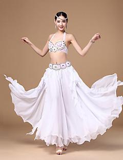 Dança do Ventre Blusas Fundos Roupa Mulheres Actuação Treino Chiffon PoliésterBotões Cristal/Strass Paetês Pérolas Franzido Amarrotado