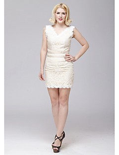 Cocktail Party Dress - Champagne Sheath/Column V-neck Short/Mini Lace