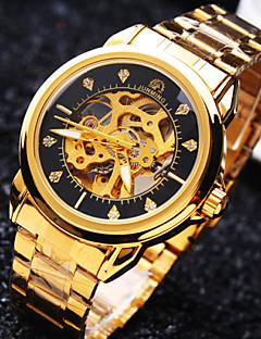 男性用 リストウォッチ 機械式時計 自動巻き 耐水 透かし加工 ステンレス バンド 光沢タイプ ラグジュアリー ゴールド
