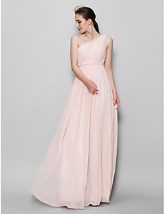 LAN TING BRIDE Floor-length Chiffon Bridesmaid Dress - A-line One Shoulder with Side Draping