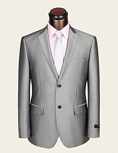 Suits Slim Fit Notch Single Breasted Two-buttons Wool / Viscose Stripes 2 Pieces Light Gray