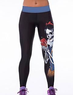 Damer Trykt mønster Legging Polyester / Spandex Tynn