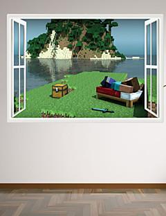 Noël Bande dessinée Romance Mode Vacances Paysage Forme Personnes 3D Stickers muraux Autocollants muraux 3D Autocollants muraux décoratifs
