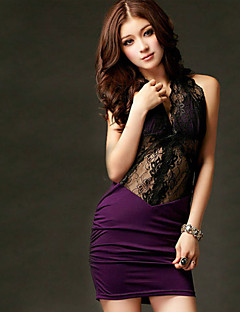 Women's Patchwork / Lace Black / Purple Dress , Sexy Deep V Sleeveless