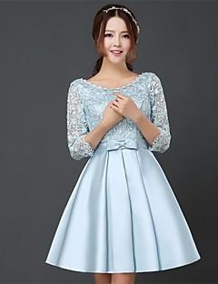 Knee-length Lace Bridesmaid Dress - Sky Blue A-line Bateau