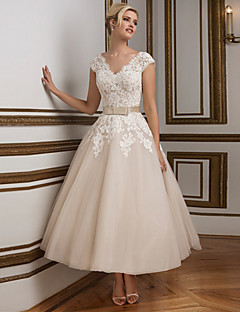 A-line Wedding Dress - Champagne Ankle-length V-neck Lace / Satin / Tulle