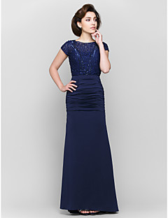 Trumpet/Mermaid Mother of the Bride Dress - Dark Navy Ankle-length Short Sleeve Lace / Jersey