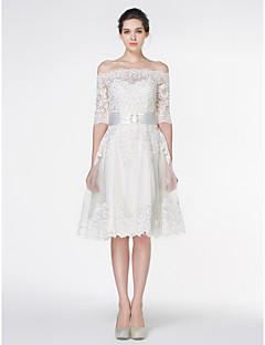 Lan Ting - A-line Wedding Dress - Ivory Knee-length Off-the-shoulder Lace