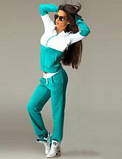 Women's Patchwork Blue / Black / Green Hoodies , Casual / Cute Hooded Long Sleeve