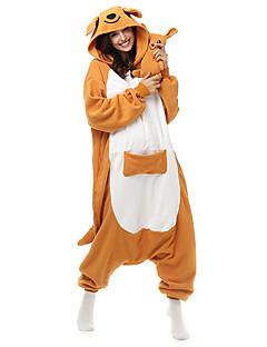 Kigurumi Pyjamas Kænguru Trikot/Heldragtskostumer Festival/Højtider Nattøj Med Dyr Halloween Oransje Patchwork Polarfleece Kigurumi Til