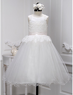 Lanting Bride A-line Ankle-length Flower Girl Dress - Lace / Tulle Sleeveless Scoop with Lace
