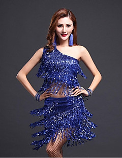 ריקוד לטיני תלבושות בגדי ריקוד נשים ביצועים נצנצים גדיל (ים) 2 חלקים בלי שרוולים טבעי חצאית / עליון