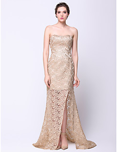 Formal Evening Dress Trumpet/Mermaid Strapless Court Train Lace