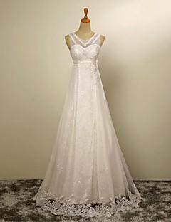 A-Linie Svatební šaty Na zem Klenot Tyl s Aplikace