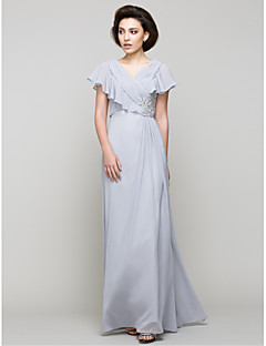 A-Line V-neck Floor Length Chiffon Mother of the Bride Dress with Crystal Detailing Criss Cross by LAN TING BRIDE®