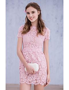 Robe de Demoiselle d'Honneur  - Rose Bonbon Mode de bal Col ras du cou Longueur mi cuisse Dentelle / Organza