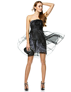 TS Couture Cocktail Party Prom Company Party Dress - Little Black Dress A-line Strapless Short / Mini Organza with Flower(s) Side Draping