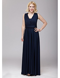 Floor-length Spandex Bridesmaid Dress A-line V-neck with Sash / Ribbon