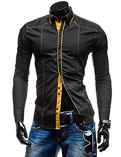 Men's Shirt Collar Casual Shirts , Cotton Blend Long Sleeve Casual Ruched Fall Iota