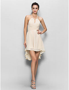 Sheath / Column Halter Asymmetrical Chiffon Bridesmaid Dress with Draping by LAN TING BRIDE®