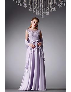 Formeller Abend Kleid - Lavendel Chiffon / Satin - A-Linie - bodenlang - Juwel-Ausschnitt