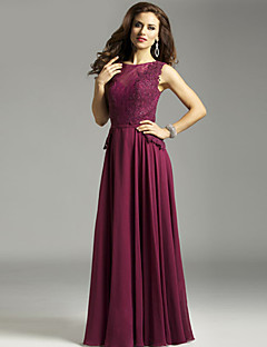 Sheath/Column Mother of the Bride Dress - Grape Floor-length Chiffon / Lace