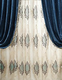 (二つのパネル)の古典的な刺繍薄手のカーテンカーテンドレープ