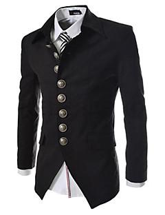 Men's Solid Casual Blazer,Cotton Long Sleeve Black / Brown / Gray