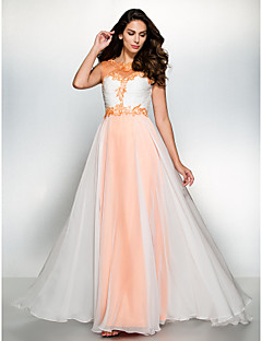 Formal Evening Dress - Orange / Ivory A-line Scoop Floor-length Chiffon / Tulle