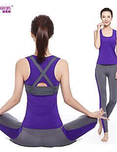 יוגה מדים בסטים מכנסיים + צמרות נושם / ייבוש מהיר / דחיסה / חומרים קלים מתיחה בגדי ספורט לנשים - אחרים יוגה